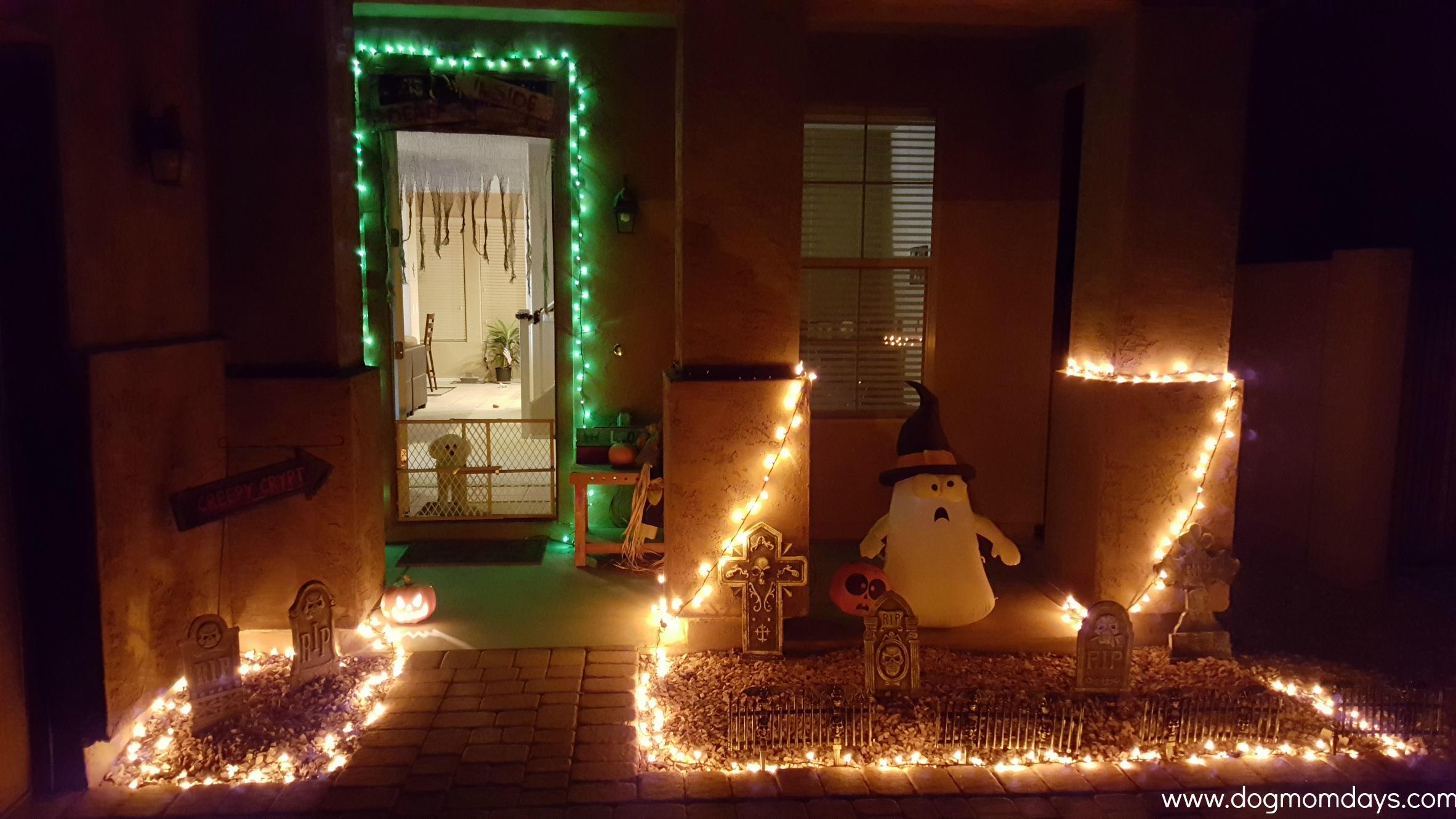 Halloween decorations at night