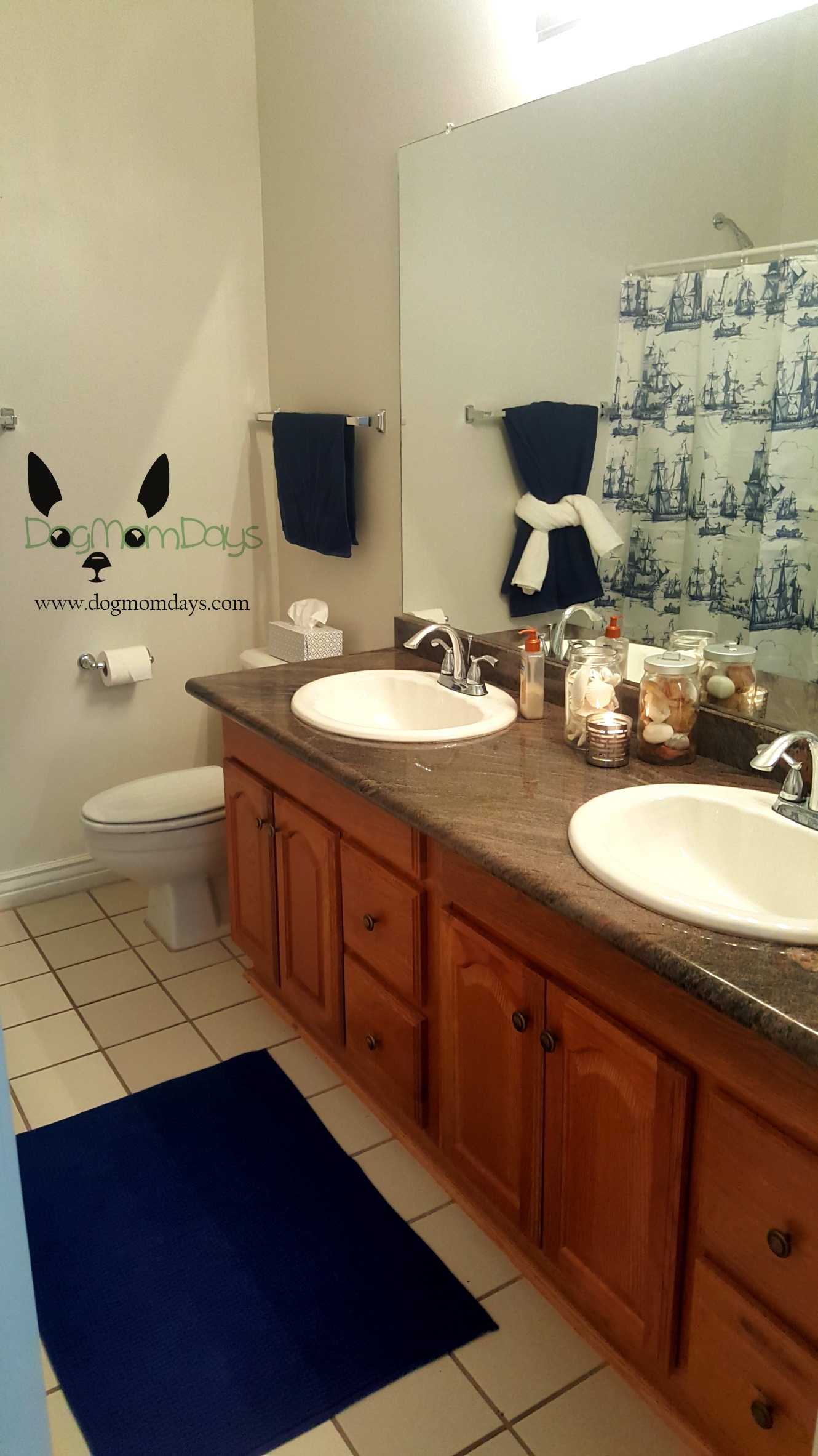 After   beautiful light gray walls with navy and white decor. Dog Mom Life  Bathroom Redesign  Killer Ants and Backyard Bonding