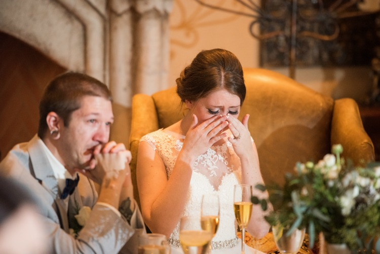 Matt and I both crying during my brother's speech.
