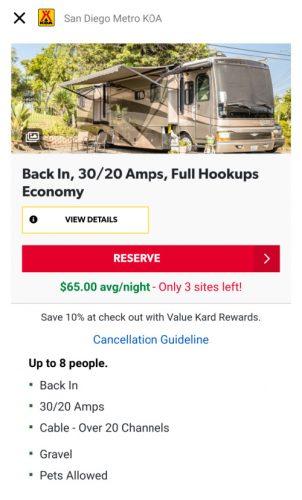 KOA campground app reservation